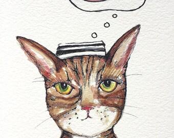 Fish Thief Watercolor Painting - Watercolor Cat PRINT - Ginger Tabby Cat Jailbird  - Nursery Wall Art - Funny Cat Story - Cat Gift
