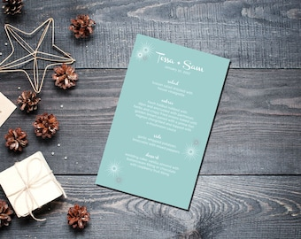 Winter Star Menu Wedding Party Romantic Christmas Ice Starburst Gold New Years Eve Retro Teal