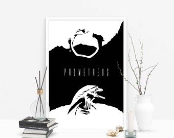 Prometheus: Horror Movie Poster // Why Have You Forsaken Us // Juggernaut Spacecraft and Deacon Xenomorph Silhouette