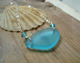 Aqua Sea Glass Necklace With Crystal Sterling Silver Beachy Blue Summer Jewelry Bridesmaid Beach Weddings Gifts Under 30