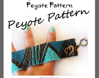 Pyramid Lovers Peyote Pattern Bracelet - For Personal Use Only PDF Tutorial , geometric cuff tutorial, triangle bracelet pattern