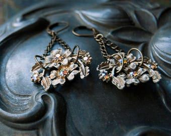 Blossom Jeweled Earrings / White Floral Drop Earrings / Vintage Wedding Earrings / Bohemian Elegance