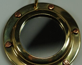1 pc 43 mm Brass Porthole Pendants Findings steampunk part Base setting up size 24.5 mm setting size 29.5 mm