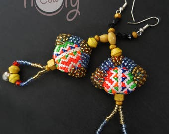 Handmade Blue Tribal Boho Chic Hippie Earrings, Tribal Earrings, Hippie Earrings, Boho Earrings, Colorful Earrings, Gypsy Earrings, Hippie