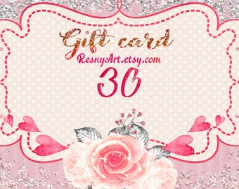 Gift certificate, Gift card, instant download voucher gift card, gift for him, last minute Anniversary present for her, gift for wife