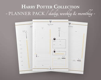 Wizard Planner Pack, Printable Planner Kit, Daily Planner, Weekly Planner, Monthly Planner w/ monthly meal planner, Planner Inserts