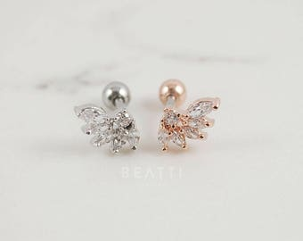 NEW Sparkly CZ Wing Cartilage Earring, Conch Piercing, Helix earring, Wing Earring, Piercing Jewelry