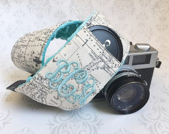 Embroidered DSLR Camera Strap, Padded with Lens Cap Pocket, Nikon, Canon, DSLR Photography, Photographer Gift - Maps with Aqua