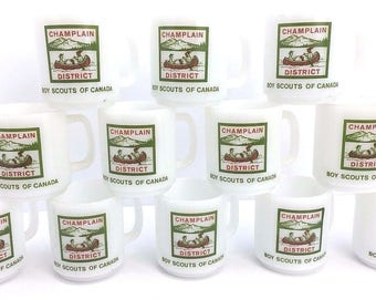 Lot of 12 Boy Scouts of Canada Champlain District Coffee Mugs Cups Vintage