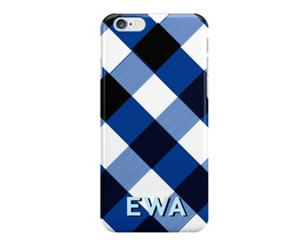 Navy Gingham Monogrammed iPhone Case [Personalized iPhone 6 case]