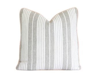 Decorative Pillow Cover / Schumacher Horst Stripe in Grisalle / Beige, Greige, Ivory Striped Throw Pillow Cover