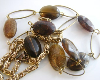 Vintage long gold autumn necklace with brown and glittery accent beads