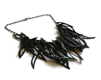 Black Leather Necklace - Black Statement Necklace - Leather Fringe Necklace - Black Necklace - Leather Necklace - Leaf Necklace
