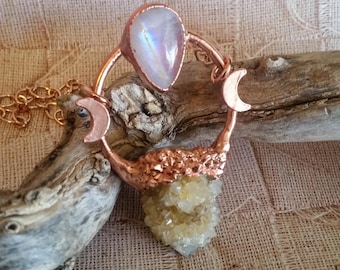 Spirit Quartz and Moonstone Copper Healing Necklace. Triple moon goddess. Electroformed pendant. Unique Crystal Jewelry.