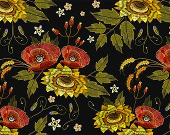 ORIGINAL design, WASHABLE and durable TABLE SET - flowers - sunflowers and poppies, embroidered style - classic.