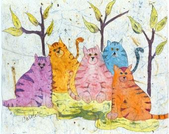 Cat Art, Cat Painting, Watercolor Cats, Watercolor Batik, Aluminum Cats, Cat Nursery Wall Decor, Contemporary Art