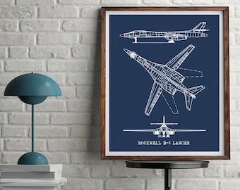 """B-1 Lancer Blueprint, Rockwell B-1 Lancer, Blueprint Art, Instant Download, Aircraft Blueprint, B1 Lancer Bomber, Aviation Art, 8x10, 11x14"""""""