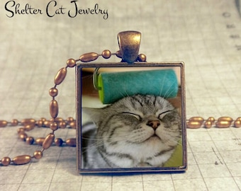 "Cat vs. the Paint Roller Necklace - 1"" Square Pendant or Key Ring - Handmade Wearable Photo Art Jewelry - Gift for Cat Lover"