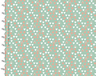 Dusky Mint & Coral Triangle Fabric, 3 Wishes Little Ones Collection 12051 Green, Geometric Quilt Fabric, Geometric Fabric, Cotton