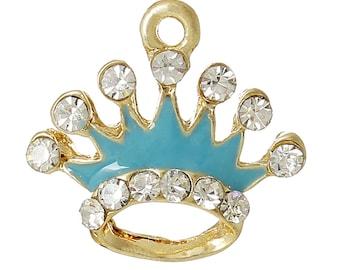 2 Rhinestone Crown Charms, Gold Plated Enamel (1H-196)