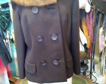 Midcentury Vintage Brown Coat with Mink Collar Size 4 Small Double Breasted Short