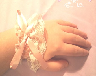 Lovely white lolita Lace wrist cuffs set