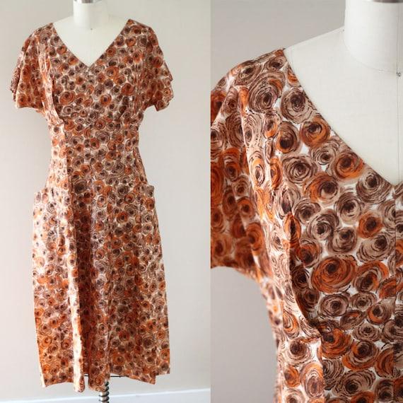 1960s orange circle sheath dress // 1960s novelty print dress // vintage day dress