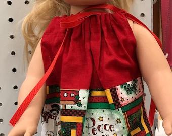 Doll Pillowcase Christmas dress