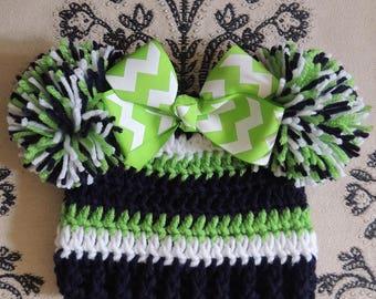 Crochet Seahawk Beanie, Seahawk hat, Seattle Seahawk hat, LuvBeanies, Girl Flower Beanie, Girl Seahawk hat, Baby Seahawk hat, Infant Seahawk
