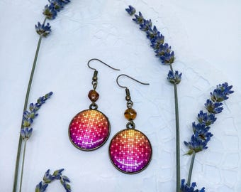 Bright round earrings, Bronze dangle earrings, Pink earrings, Resin jewelry, Unique earrings, Mosaics, Unique jewelry, Gift for mother