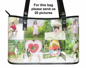 Personalized tote bag with pictures from you - FREE SHIPPING - gift gifts for mom girlfriend grandmother custom customized handbag handbags