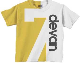 Birthday Number Shirt, Personalized Childrens Number T-Shirt, Boy or Girl, 1st 2nd 3rd 4th 5th 6th 7th 8th 9th Birthday