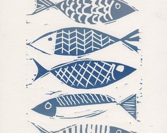 Lino print | fish print | seaside prints | linocut print | blue fish | limited edition print | linoprint | original hand pulled print