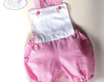 Baby Pink and white gingham romper