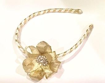 Wedding gold hairband flower crystals pearls hairpiece, flower girl bridal headband