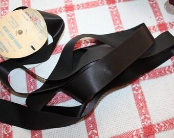 Black Satin Ribbon Vintage 16 Yards 1.5 Inches Wide