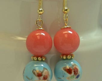 Vintage Chinese Butterfly Aqua Porcelain Bead Earrings Dangle Drop ,Coral Chalcedony Beads, Gold Plated french ear wires