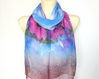 Blue Chiffon Scarf Spring Scarves for Women Pink and Blue Scarf Women Bohemian Scarves Lightweight Scarf Summer Gifts for Mom Gift