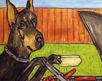 25% off Doberman Pinscher at the Cook Out Dog Art Tile Coaster