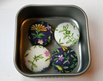 Fabric Button Magntes, set of 4 in Decorative Tin