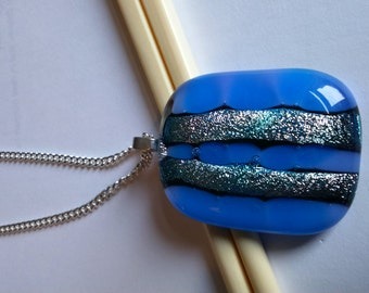 Fused glass pendant on 17 inch silver plate chain - silver stripes