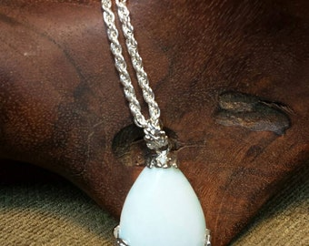 Gorgeous Opalite Teardrop Wrapped in Lovely Silver Flowers Necklace