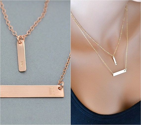 Completely new Rose Gold Bar Necklace Layered Necklace Initial Necklace EG37