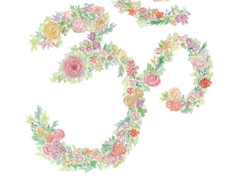 Grow + BlossOM - Watercolor OM, Yoga Print