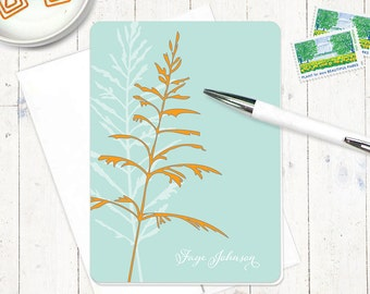 personalized stationery set - FANCIFUL FERN - set of 8 folded note cards - nature stationary - botanical