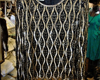 Vintage Gold and Black Sequin and Beaded Trophy Top by Stenaz * XL