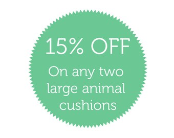 15% off two large animal cushions // Discount deal // Cushion sale //