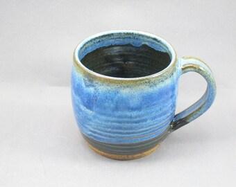 Pottery Coffee Mug Rutile Blue - Green To Black CHUNGTB79