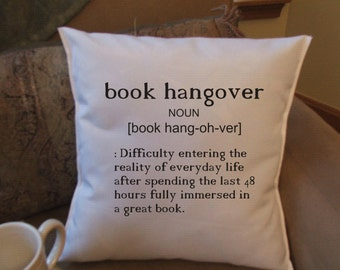 book hangover humorous decorative pillow cover
