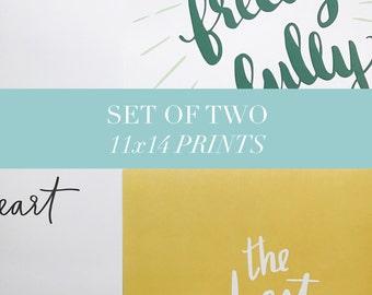 Impression d'art ensemble - Set impression 11 x 14 - lot de reproduction d'Art - Art Print coffret - Illustration - lettrage - Art mural
